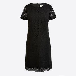 J. Crew Black Lace Scalloped Hem Dress